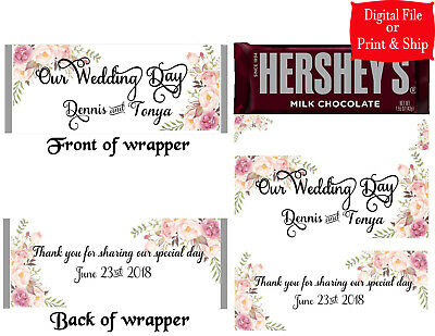 Bridal Shower Favors ~ Personalized Candy Bar Wrappers fit the 1.55 oz Hershey/'s Bar ~ DIGITAL OR PRINTED