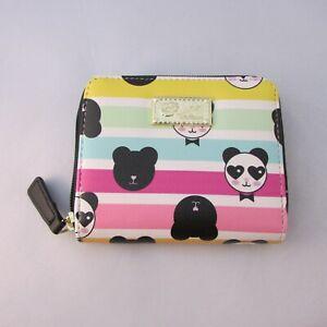 New-Betsey-Johnson-Panda-Wallet-Multi-Color-Rainbow-Stripes-Small-Card-Zip-Up