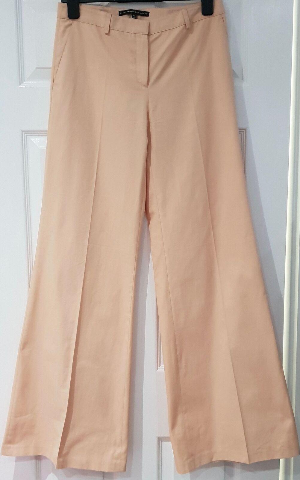 ALESSANDRO DELL ACQUA Peach rosa Cotone Pantaloni Gamba Larga Flare Pantaloni IT42 UK10