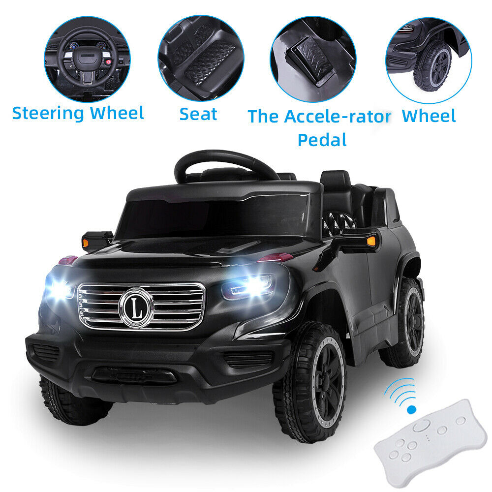 Ride On Cars 6V Electric Power Kids Toy Car 3 Speed Remote Control LED Light