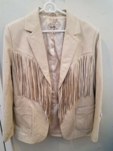 SCULLY Leather Jacket Size Medium Fringe Western P