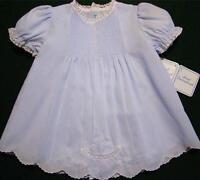 Handembroidered Preemie/newborn Blue Batiste Baby Dress W/slipreborn Dollnwt