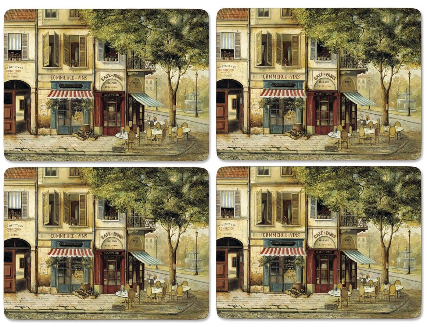 Pimpernel Parisian Scenes Placemats, Wood, Multi-Colour, Small, Set of 4