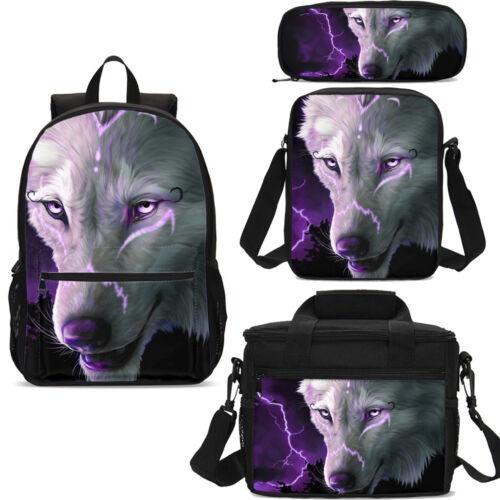 Boys Girls Wholesale Wolf Backpack Schoolbag Lunch Bag Satchel Cross-body Case