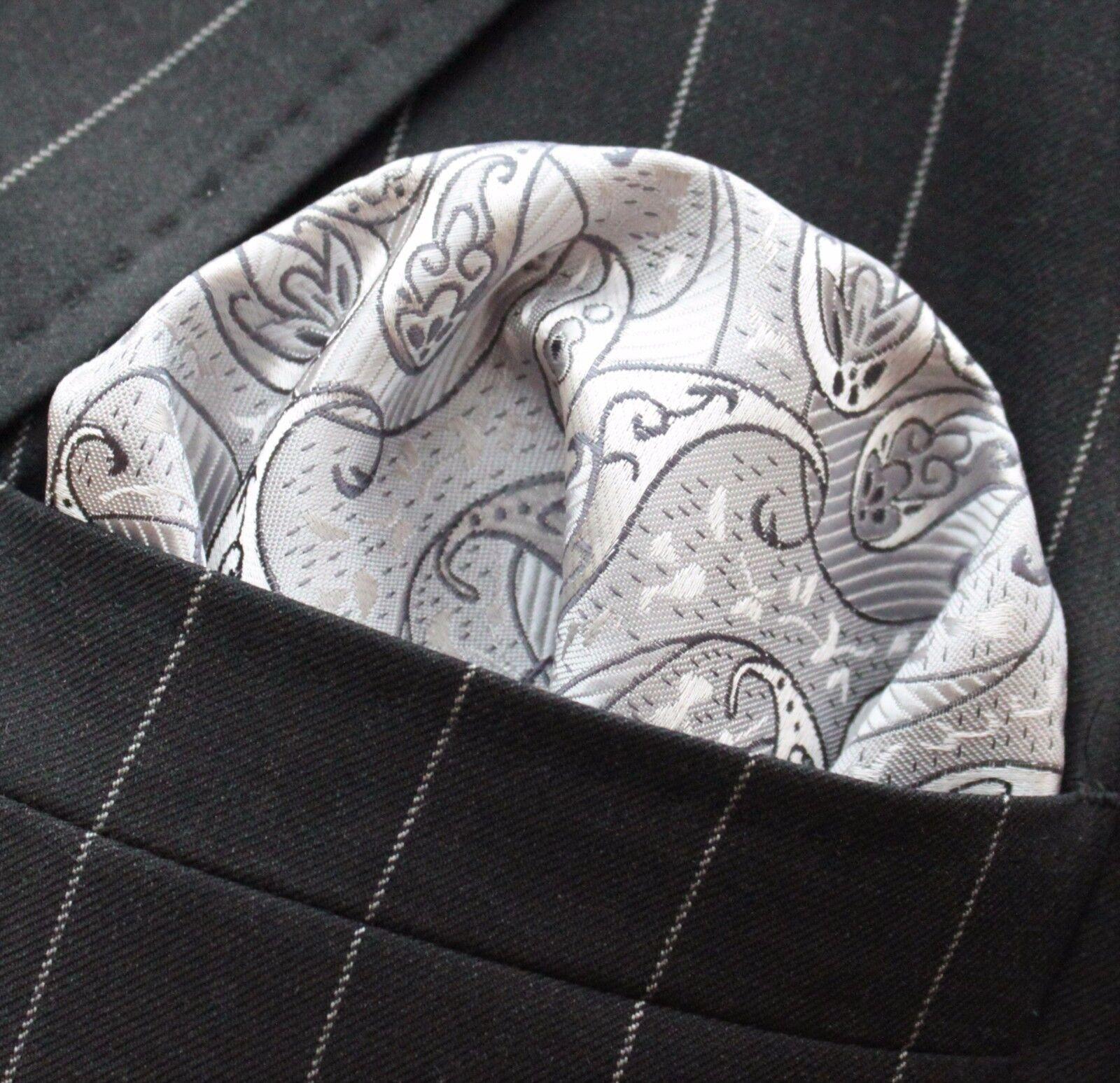 Hankie Pocket Square Handkerchief Silver & Grey Paisley