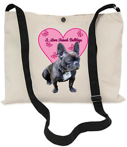 I-Love-French-Bulldogs-Canvas-Musette-Bag-40x30cm-lange-verstellbare-Trageriemen