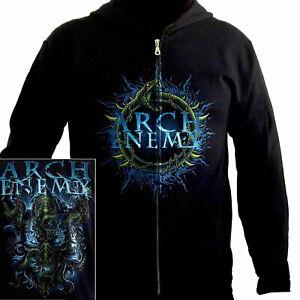 Arch-Enemy-Destruction-Plague-Zip-Hoodie-M-XL-Black-Hooded-Sweatshirt-Official