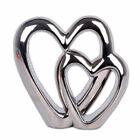 2 Double Heart Cream Ornament Standing Valentine Love Wedding Gift Decor