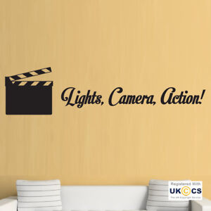Wall Stickers Cinema Film Making Lights Camera Action Clip Art Decal