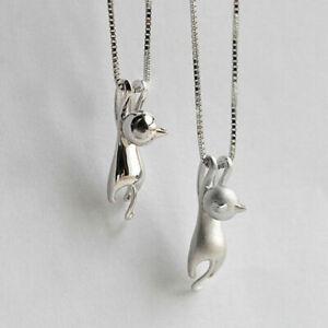 Halskette-mit-Anhaenger-Katze-Schmuck-Farbe-Gold-Silber
