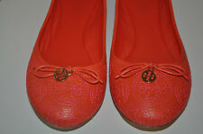 Tory Burch S 9.5 CHELSEA Stitched Gold Logo Fire Orange Leather Ballet Flat Shoe