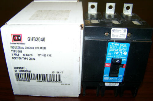 BRAND NEW Cutler Hammer GHB GHB3040  3Pole 40Amps 480Volt Bolt-on FREE SHIPPING