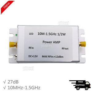 10MHz-1-5GHz-Broadband-RF-Power-Amplifier-32dB-Gain-27dBm-Shielded-Output