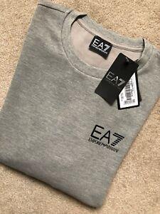 EMPORIO-ARMANI-EA7-GRIS-Ras-Du-Cou-Pull-Sweat-Pull-6ZPM68-XL-Neuf-etiquette