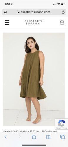 Elizabeth Suzann Harlow Dress Olive Cotton Poplin