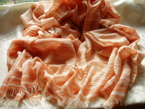 Orange Peach Beige Cream Cotton Stripe Lightweight Ladies Scarf Pashmina D320