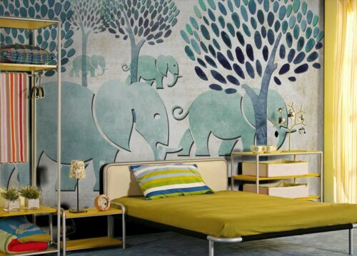 3D Cute Elephant Tree Wall Paper Wall Print Decal Wall Deco Indoor wall Murals