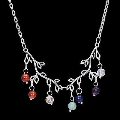 Antique Silver Plt 7 Chakra Healing Stones Branch Pendant Necklace Reiki crystal