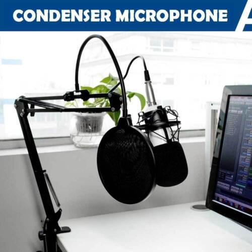 1 of 1 - Pro Studio Condenser Microphone Recording Suspension Boom Scissor Arm Stand Kit