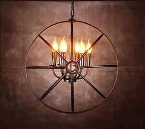 Industrial Vintage Chandelier Pendant Light Ceiling Lamp Metal Cage 6 lights