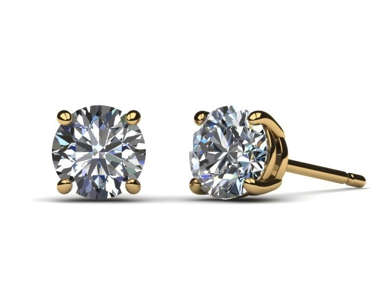 2.00 CARAT H SI1 CERTIFIED ROUND CUT DIAMOND STUD EARRINGS 18K YELLOW gold