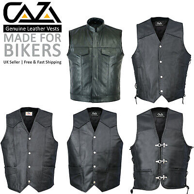 Qualifiziert Mens Real Leather Waistcoat Motorcycle Biker Style Black Gillet Vest Top Quality Kunden Zuerst