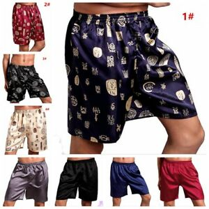Silk Satin Boxers Shorts Nightwear Pyjamas Men's Sleepwear Underwear L XL XXL
