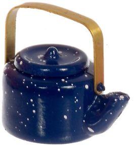 Échelle 1:12 Bleu à Pois Métal Bouilloire Tumdee Maison De Poupées Miniature Cuisine-afficher Le Titre D'origine Haute RéSilience