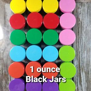 24 Multi Color Cap Black Plastic Jars  Containers 1 ounce 4305 USA New Black Jar