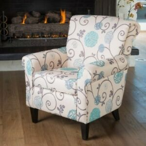 Details about Floral Fabric Club Chair Arm Chairs Accent Armchairs Living  Room Bedroom Modern