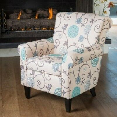 Floral Fabric Club Chair Arm Chairs Accent Armchairs Living Room Bedroom  Modern   eBay