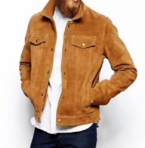 053f2fc13 Details about Mens Brown Soft Suede Leather Denim Style Western Trucker  Summer Native Jacket
