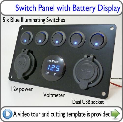 Black DC Switch Panel Blue LED 12v USB Voltmeter Van Boat Camper Caravan VW dv