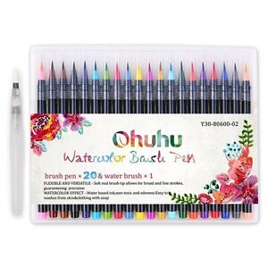 Ohuhu 20 Colors Watercolor Brush Marker Pens W/ A Water Coloring ...