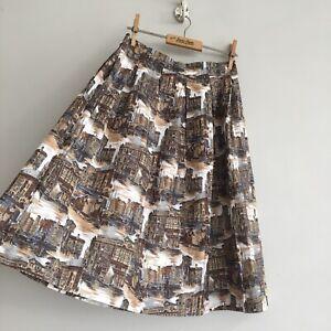 True-Vintage-1950s-Scenic-Print-Novelty-Cotton-Skirt-UK8-W26