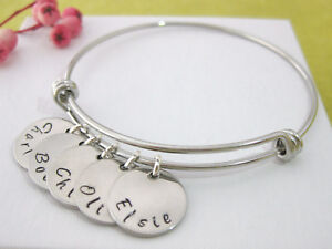 3b9707e11a7f6 Details about Personalised Bangle Bracelet 1, 2, 3, 4, 5, 6, 7 or 8 Names  Family Gift