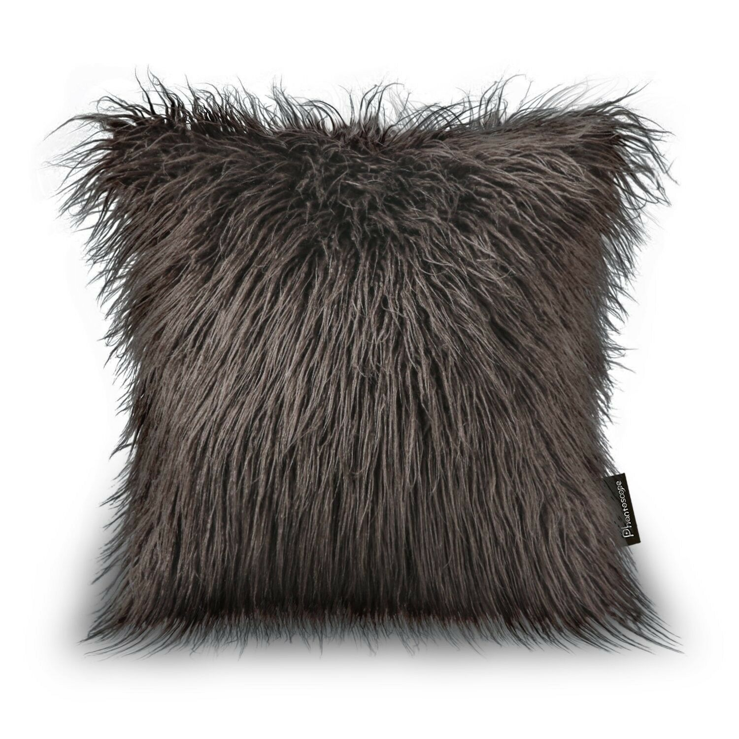 Fur Throw Pillow Case Cover Coffee Brown Rustic Sofa Couch Decor Gift Her New