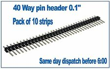 "10 x 40 Pin Header Pins Strip 0.1"" 2.54mm for PCB, Veroboad, Breadboard, Arduino"