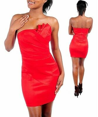 RED Strapless Formal Cocktail Evening Dress