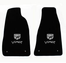 NEW! Black Floor Mats 1992-2002 Dodge Viper Silver Embroidered Logo Snake Head