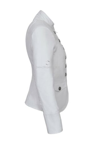 VICTORY Ladies White Leather Jacket Military Studded Style Soft Real Lamb 8976