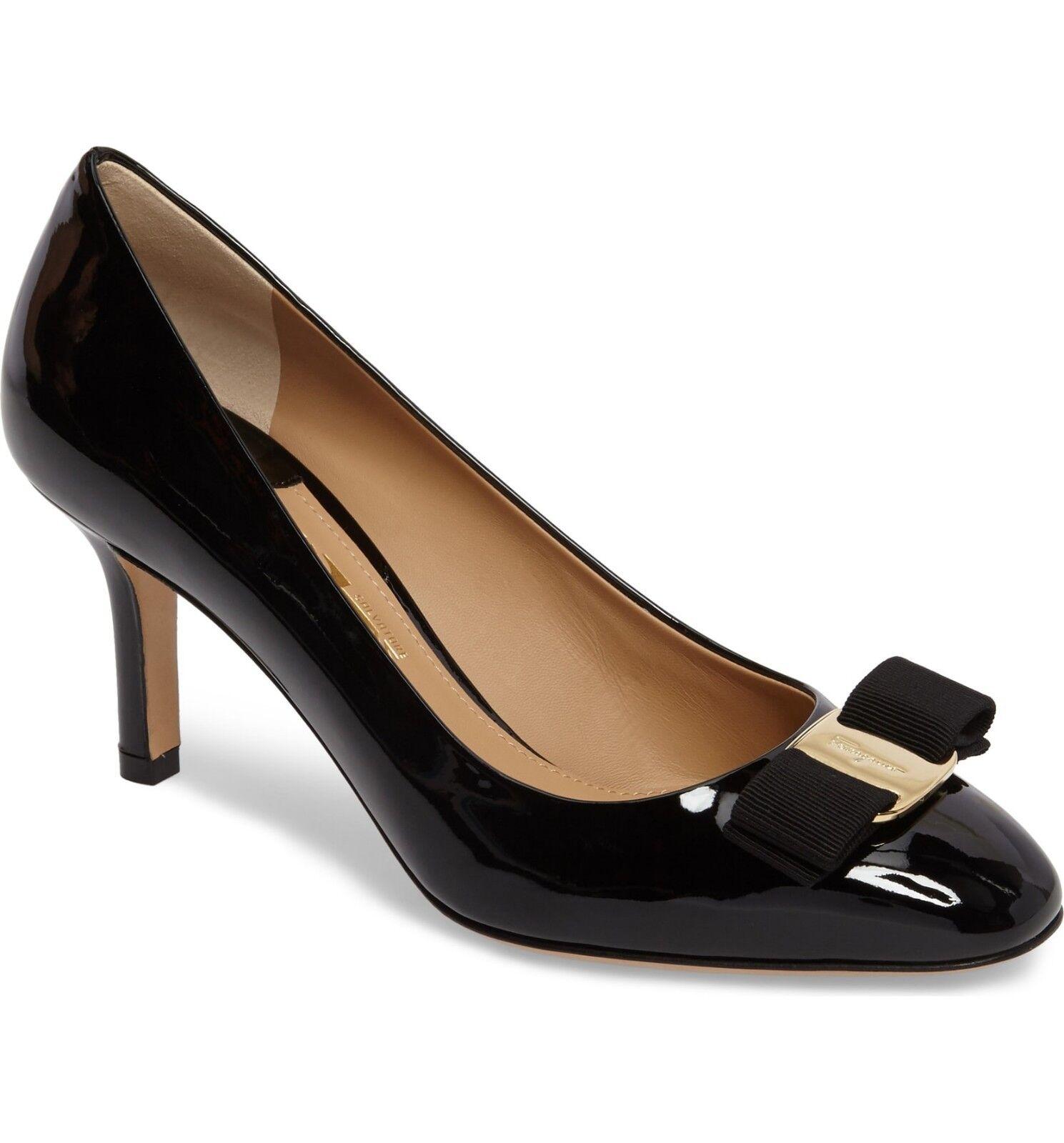 NIB NIB NIB NEW Salvatore Ferragamo Erice Patent bow pumps shoes black 7.5 8 9.5 B 1b53ef