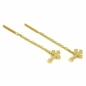 9ct Gold Gothic Cross Pull Through Chain Earrings Thru