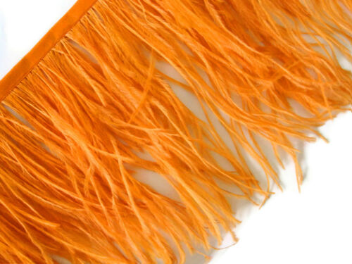 Orange Ostrich Fringe Trim Feather Millinery DIY Carnival Supply 6 Inch Strip