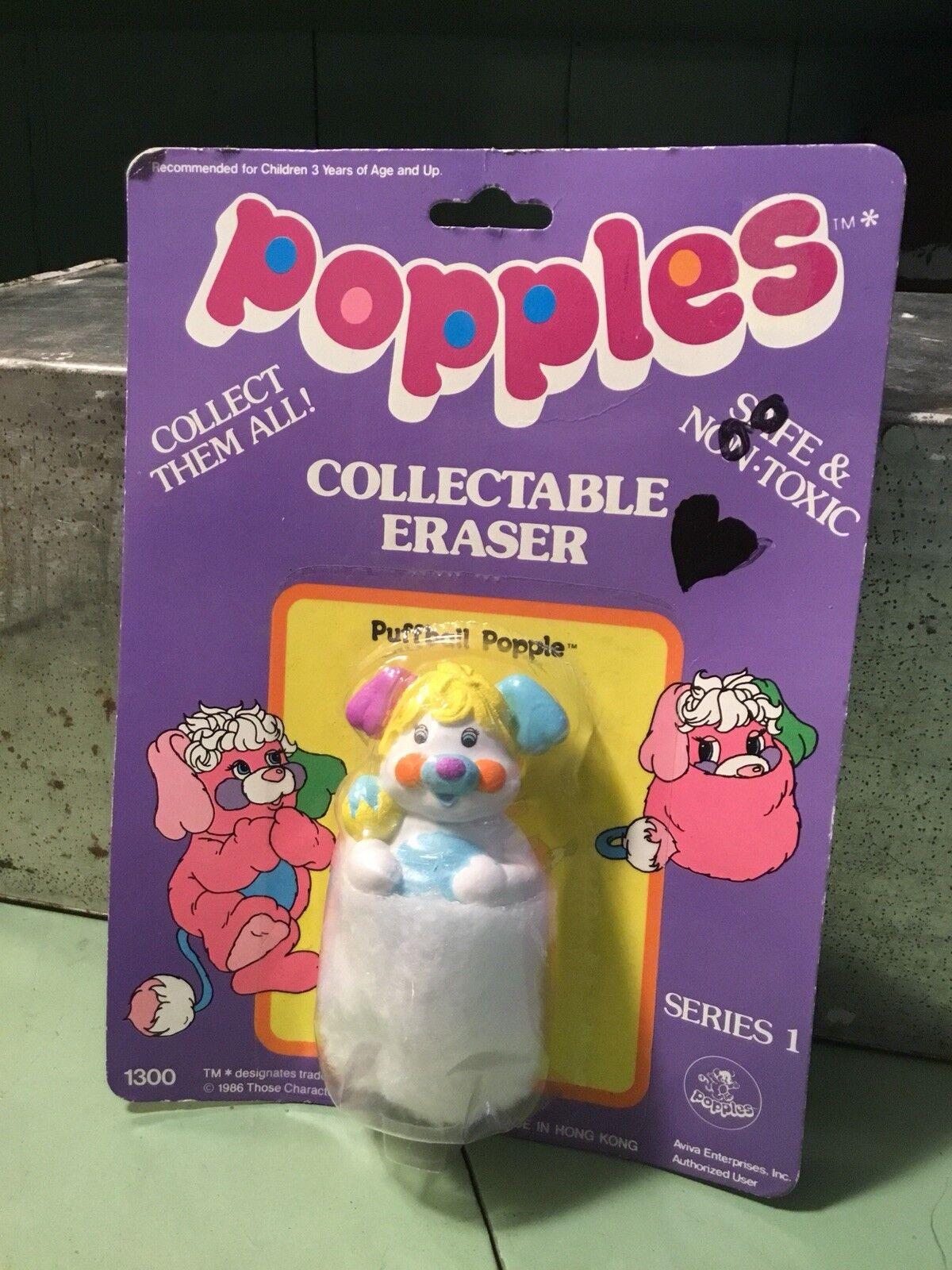 "Vintage Vintage Vintage Popples Puffball Popple Series 1 Eraser 1986 Miniature 3.75"" Toy MIP 0342c7"