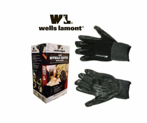 Wells Lamont Men's Nitrile Coated Work Gloves 12 Pair Pares Grandes Size L