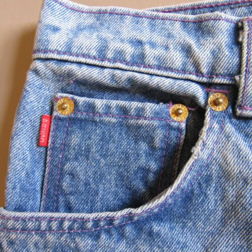 1990's damesmaat Shorts Jean Blue Colours Frosted 31 Vintage door Prego Long wqp7x14