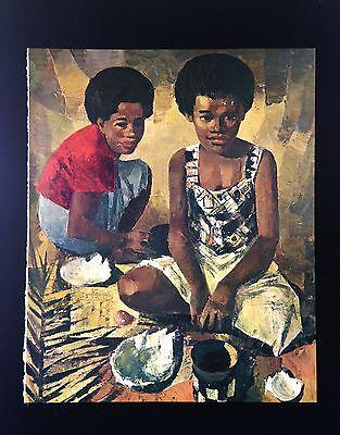 "1966 Vintage FIJI Full Color Art Plate ""FIJIAN WOMAN"" McIntyre Lithograph"