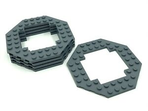 LEGO Large Plates Octagonal with cutout DARK STONE GREY # 10x10 # pack of 5 #