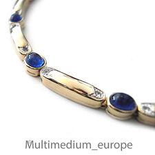 Strass Collier Pierre Lang Halskette stark vergoldet signiert 40 cm blau